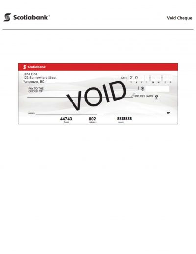 Scotiabank Void Cheque